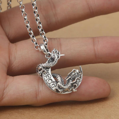 Collier Dragon Lune D'argent - Dragonys