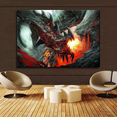 Fire Dragon Fantasy 4 Piece Style Modular Picture Canvas Printing Type Modern Home Decorative Wall Artwork Poster Framework - Dragonys