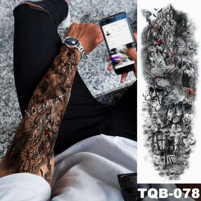 Large Arm Sleeve Tattoo Dragon Buddha Prajna Waterproof Temporary Fake Tatoo Sticker Skull Japanese Men Women Full Totem Tatto - Dragonys