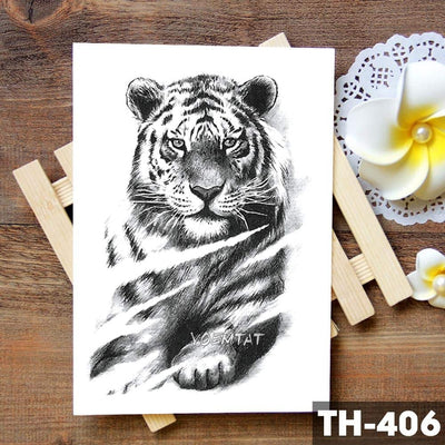 Tiger Skull Leopard dragon Waterproof Temporary Tattoo Sticker Wolf Animals Tattoos Body Art Arm Hand men Fake Tatoo - Dragonys