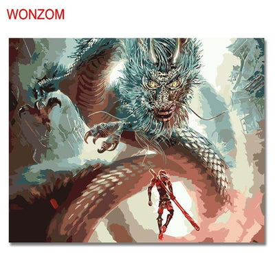 WONZOM Man Facing The Dragon Oil Painting By Numbers DIY Digital Picture Coloring By Numbers On Canvas Unique Gift Home Decor - Dragonys
