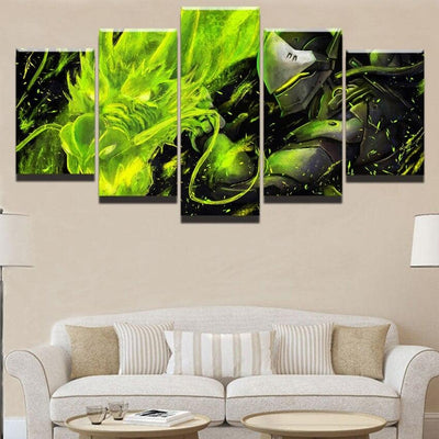 Wall Art Modern Canvas Printed 5 Panel Overwatch Genji And Green Dragon Painting Modular Pictures Home Decor Living Room Poster - Dragonys