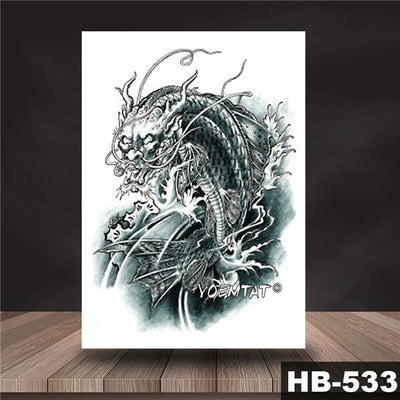 Waterproof Temporary Tattoo Sticker Black color dragon pattern tattoo Water Transfer Skull body art fake tattoo For Women Men - Dragonys