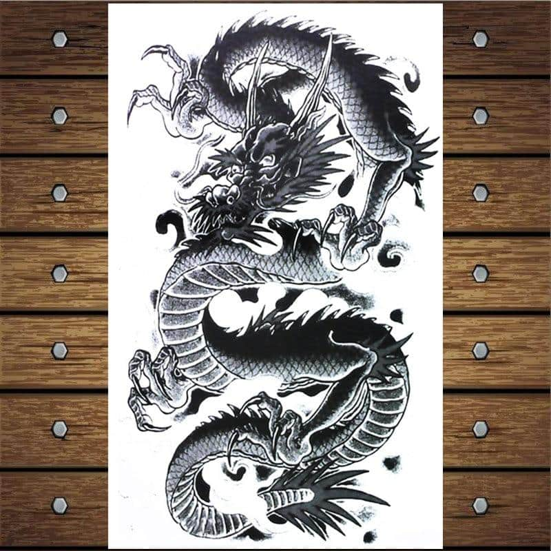 Y-XLWN Chinese Dragon 2 Pattern Men's DIY Body Art Tattoo Vivid Temporary Tattoo Sticker Ms. Waterproof Design Tattoo - Dragonys