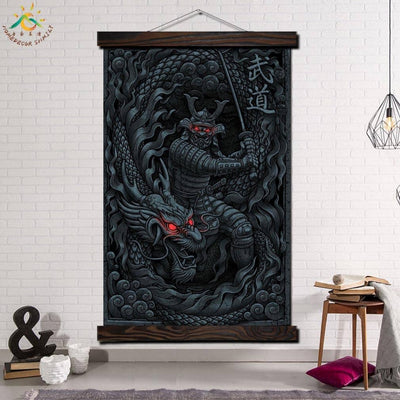 samurai and Dragon Modern Wall Art Print Pop Art Picture And Poster Solid Wood Hanging Scroll Canvas Painting Home Decor Artwork - Dragonys