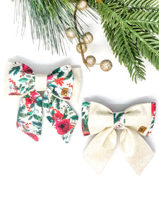Double Dog Sailor Bow | Christmas Floral x Silver Glitter