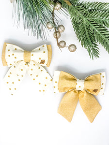 Double Dog Sailor Bow | Gold Stars x Gold Glitter