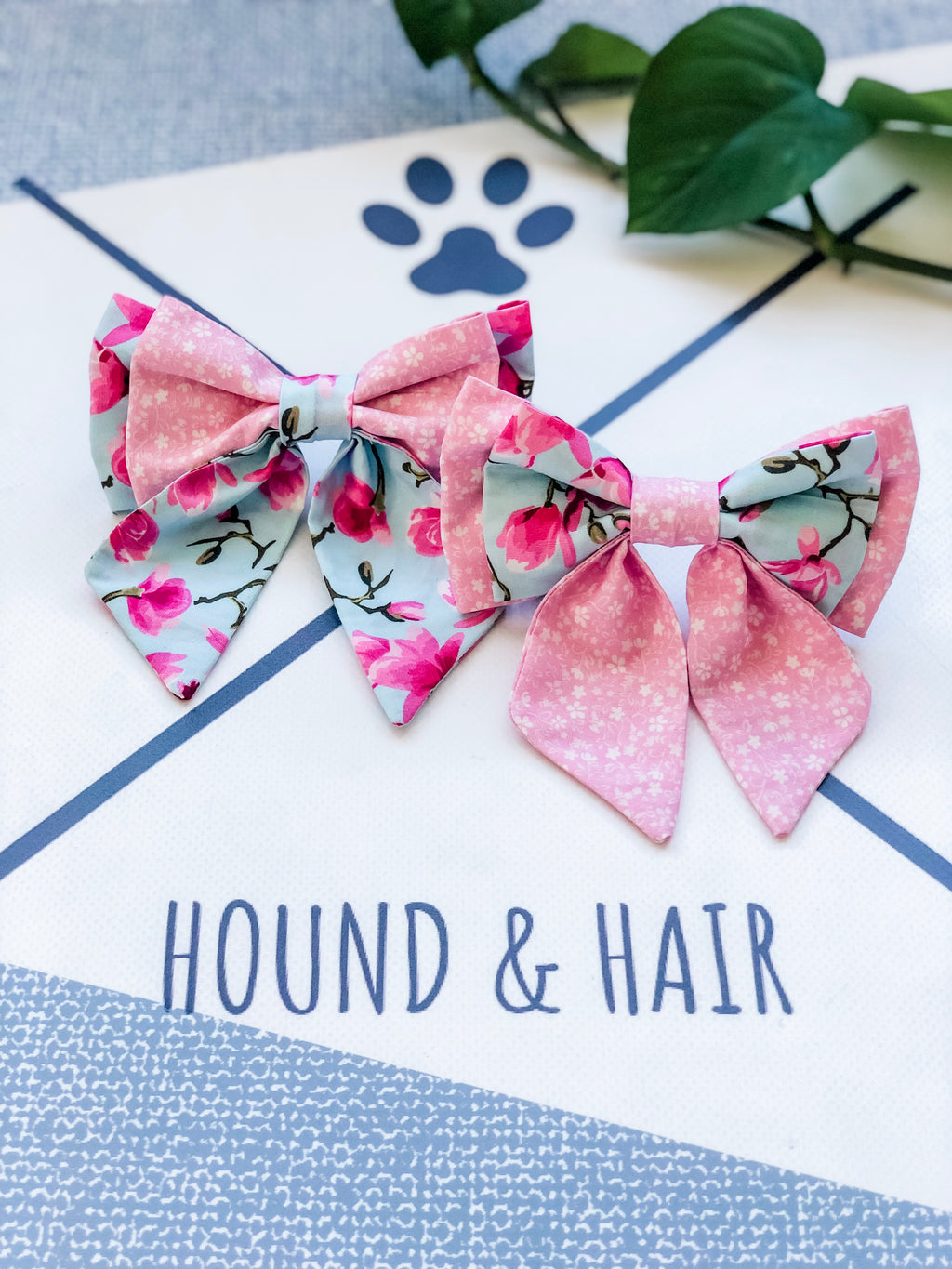 Double Dog Sailor Bow tie | Cherry Blossom x Pink