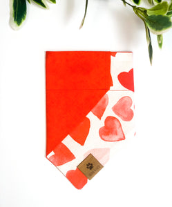Reversible Over the Collar Bandana | Valentine's Day Hearts