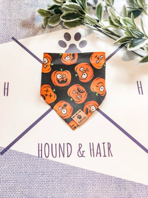 Reversible Snap on Bandana | Pumpkin x Plaid
