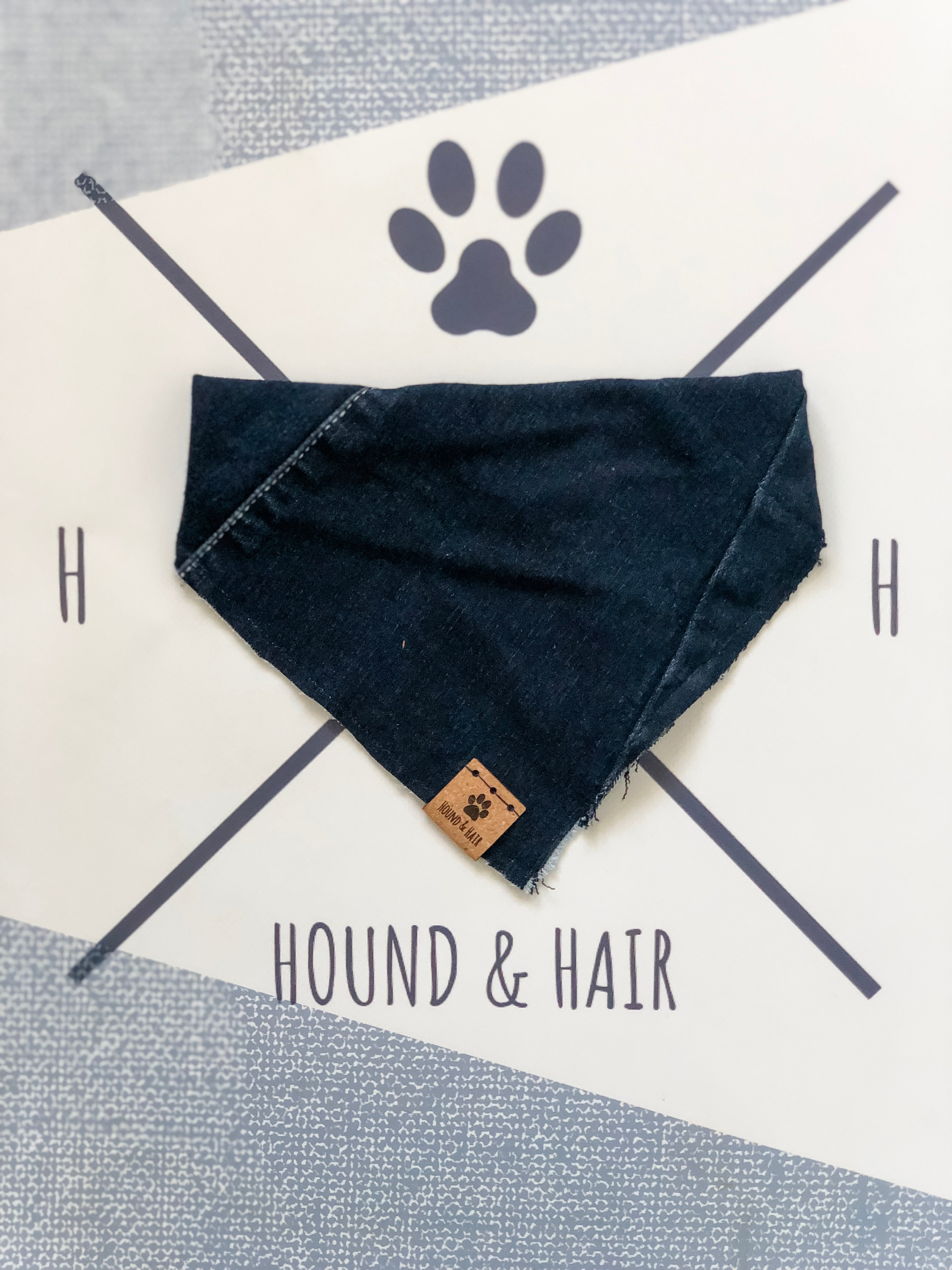 MEDIUM Upcycled Denim Bandana - Dark Wash