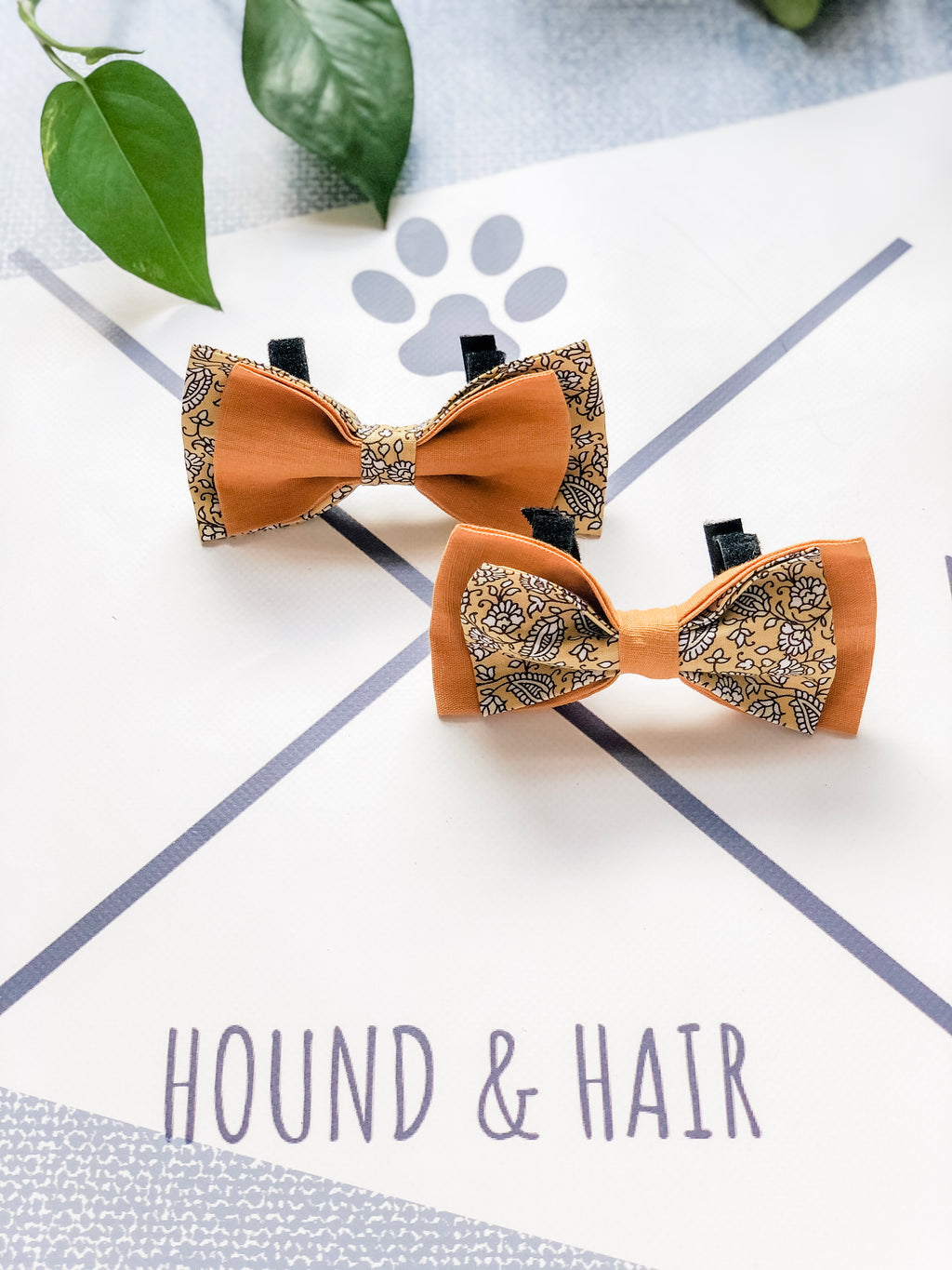 Double Dog Bow tie | Yellow Floral x Mustard