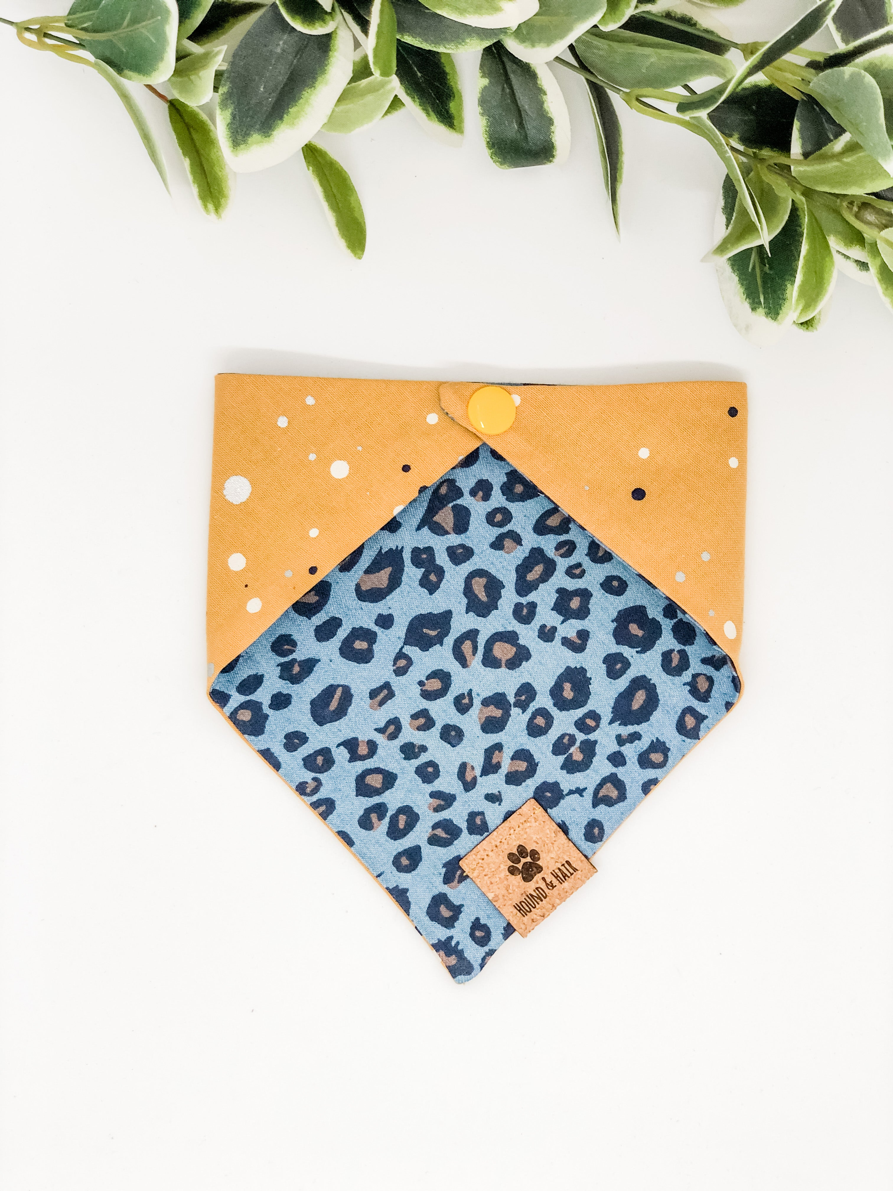 Reversible Snap on Bandana | Denim Leopard x Mustard Spots