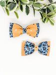 Double Dog Bow tie | Denim Leopard x Mustard Spots