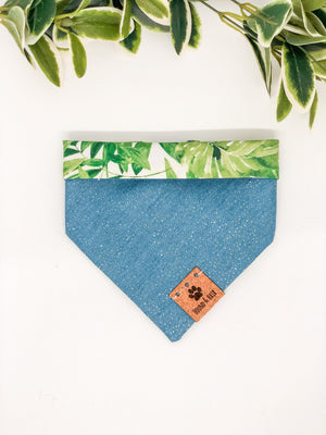 Reversible Snap on Bandana | Glitter Denim x Monstera