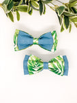 Double Dog Bow tie | Glitter Denim x Monstera