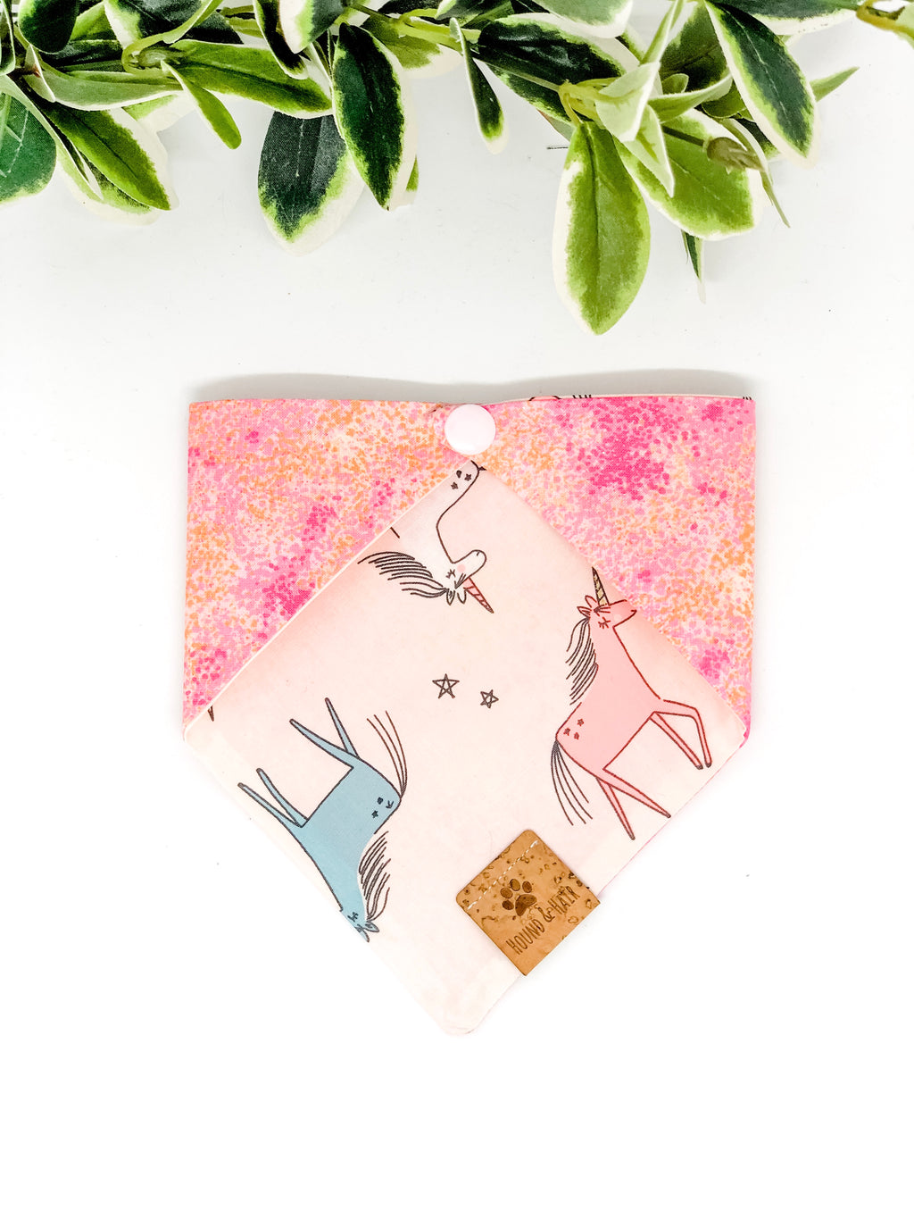 Reversible Snap on Bandana | Glitter Unicorns x Pink