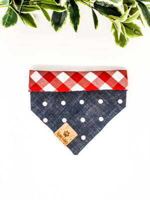 Reversible Snap on Bandana | Checkers x Denim Dots