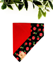 Reversible Over the Collar Bandana | Roses x Red