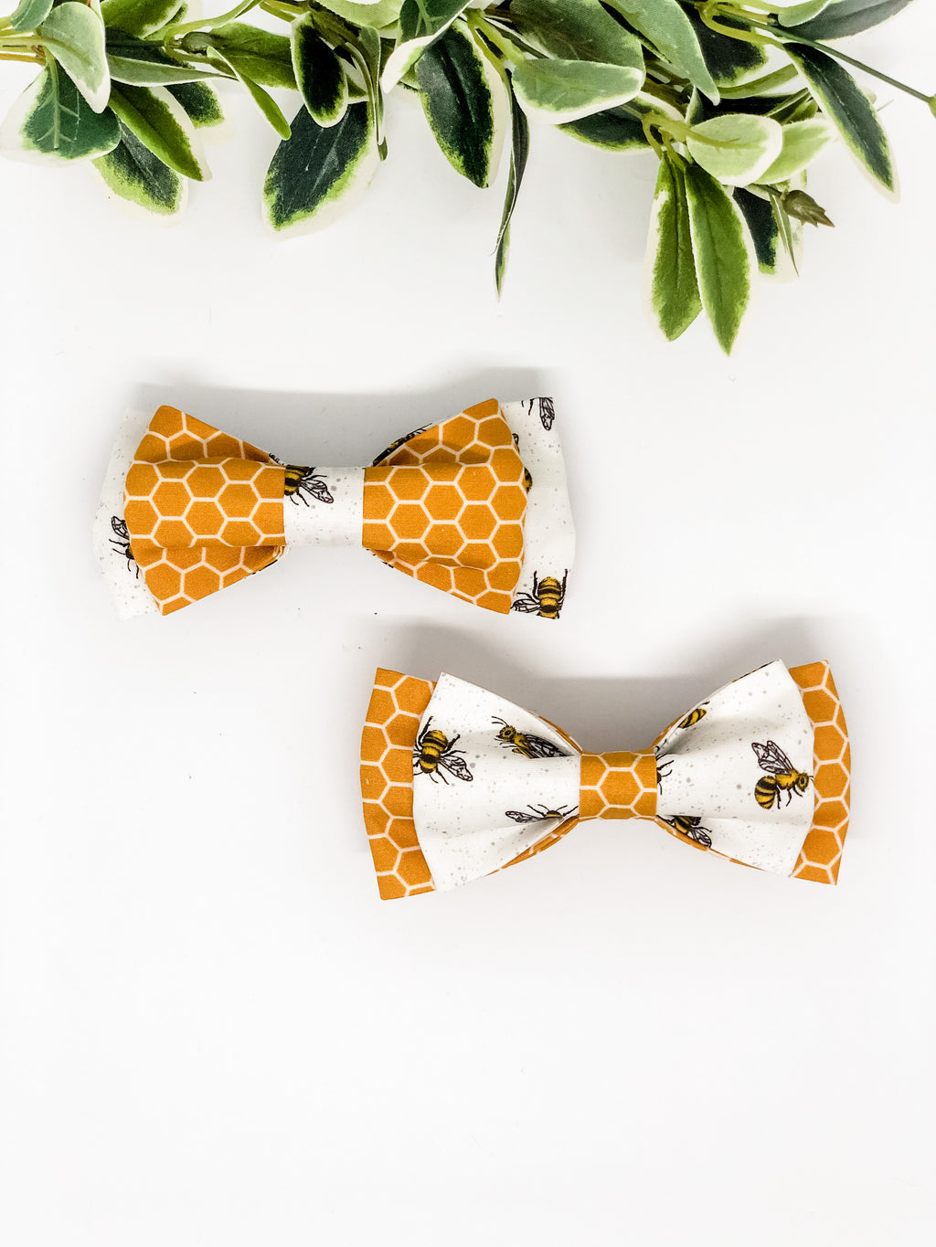 Double Dog Bow tie | Bees x Honeycomb