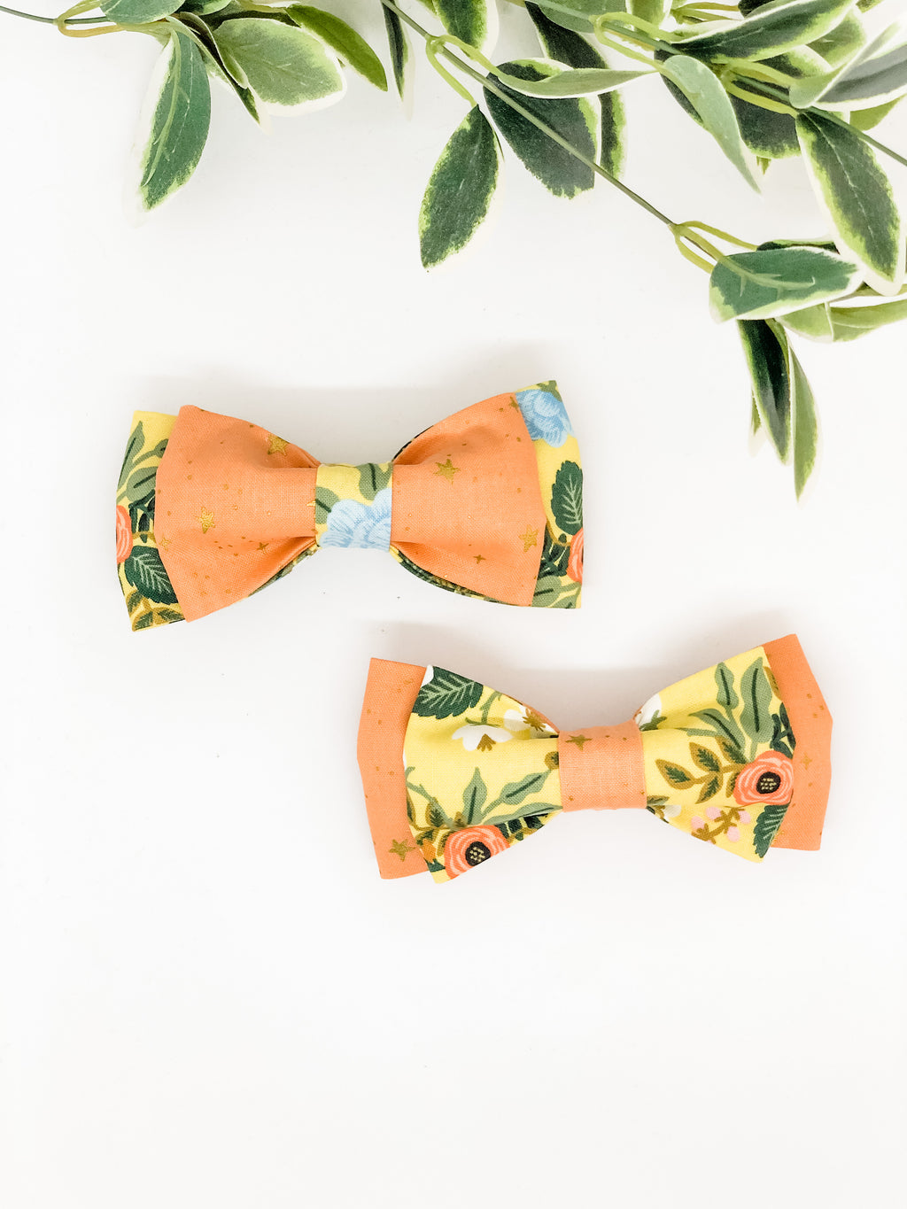 Double Dog Bow tie | Wild Bloom 2.0 x Peach Stars