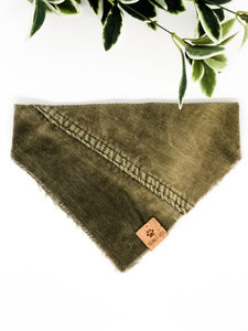 MEDIUM Upcycled Denim Bandana - Khaki Corduroy