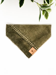 SMALL Upcycled Denim Bandana - Khaki Corduroy
