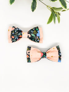 Double Dog Bow tie | Wild Bloom Black x Pink Stars
