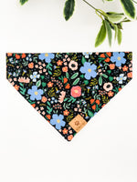 Reversible Over the Collar Bandana | Wild Bloom Black x Pink Stars