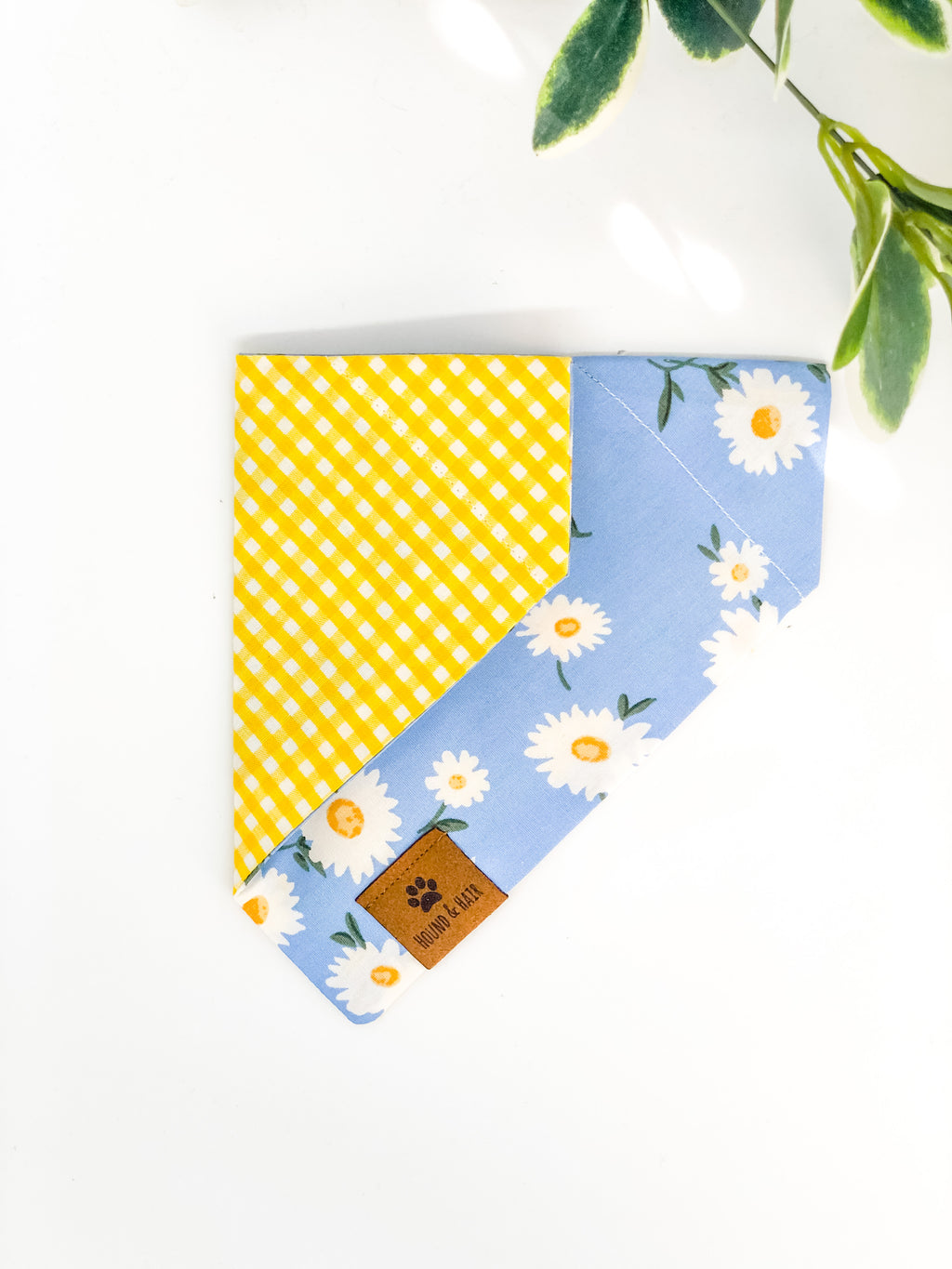 Reversible Over the Collar Bandana | Daisy x Yellow Gingham