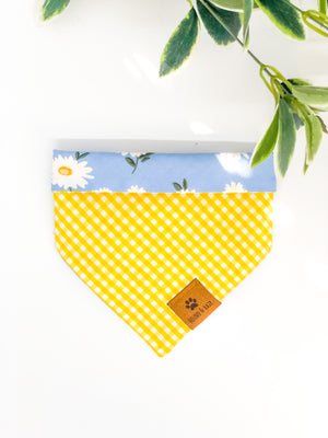 Reversible Snap on Bandana | Daisy x Yellow Gingham