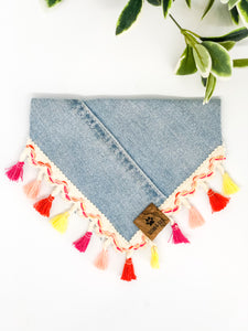 SMALL Upcycled Denim Bandana - Light Wash, Coloured Fringe