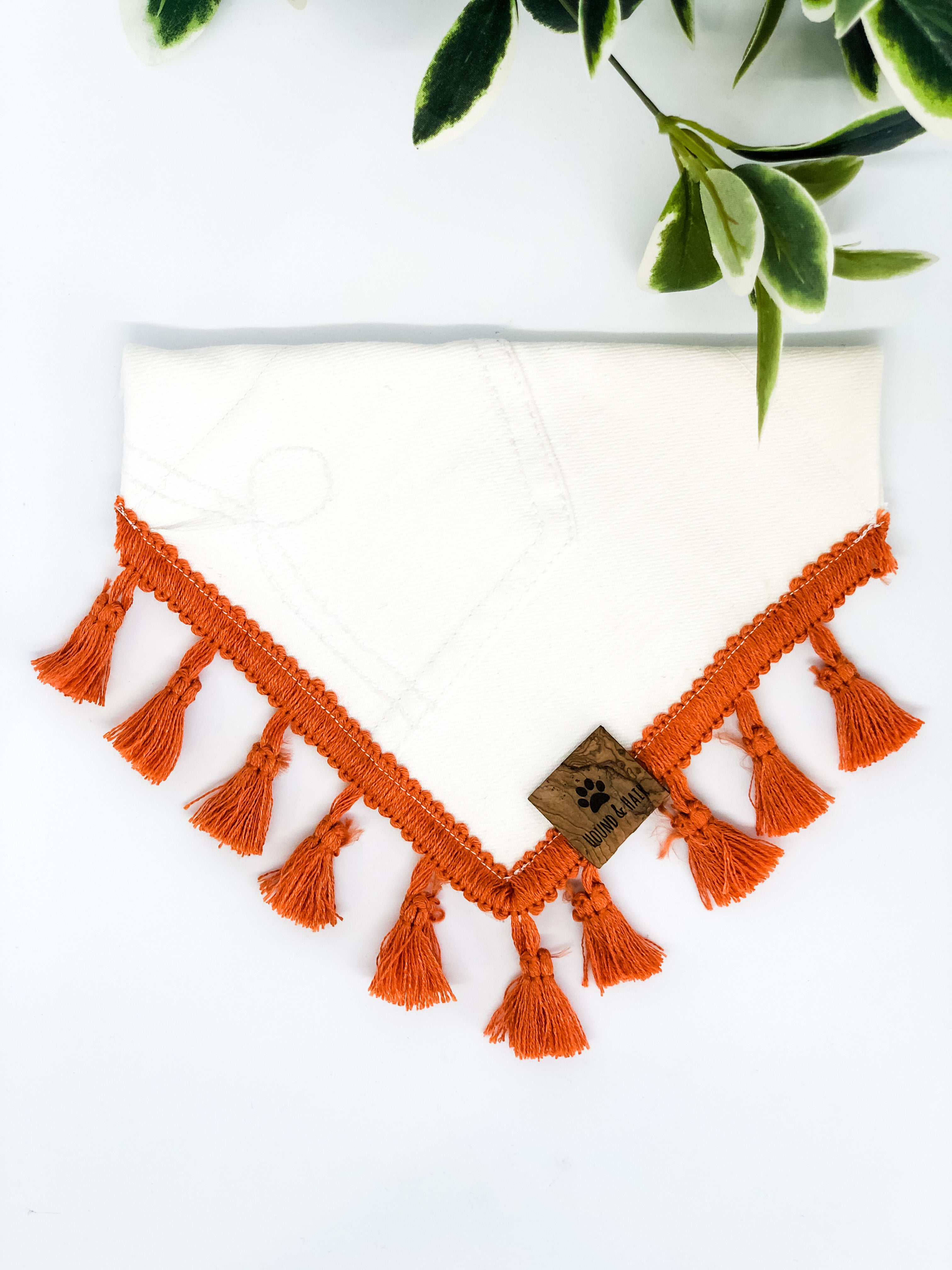 SMALL Upcycled Denim Bandana - White, Rust Fringe