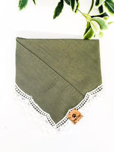 LARGE Upcycled Denim Bandana - Khaki, White Fringe