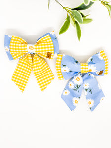 Double Dog Sailor Bow | Daisy x Yellow Gingham
