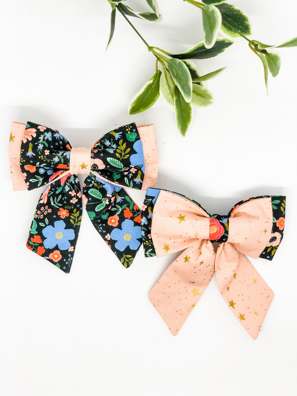 Double Dog Sailor Bow | Wild Bloom Black x Pink Stars