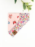 Reversible Over the Collar Bandana | Butterflies x Flower Garden