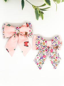 Double Dog Sailor Bow | Butterflies x Flower Garden