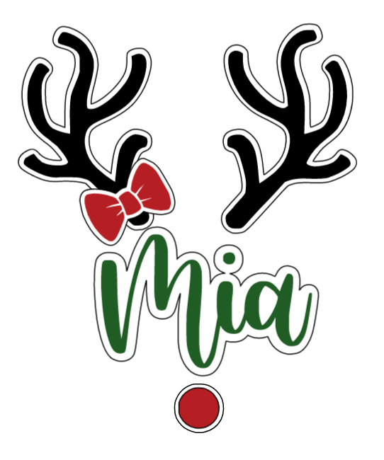"""Reindeer Name with Bow"" Text Add-On"