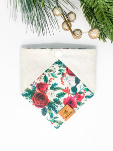 Reversible Snap on Bandana | Christmas Floral x Silver Glitter