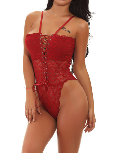 EWMOR - Scalloped Trim Lace-Up Teddy Bodysuit