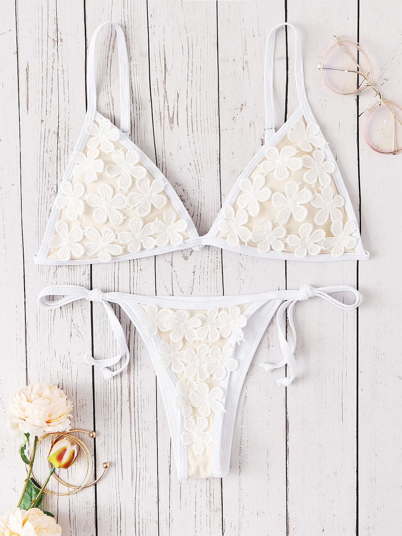 EWMOR - Appliques Triangle Top With Tie Side Bikini