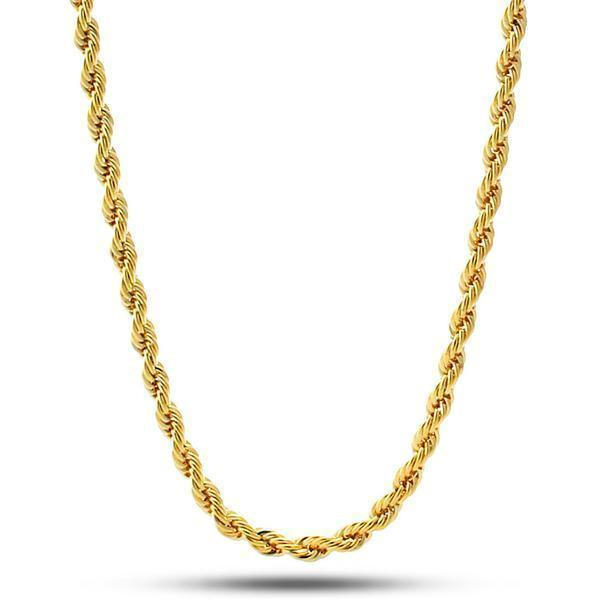 4mm, 14K Gold Stainless Steel Rope Chain