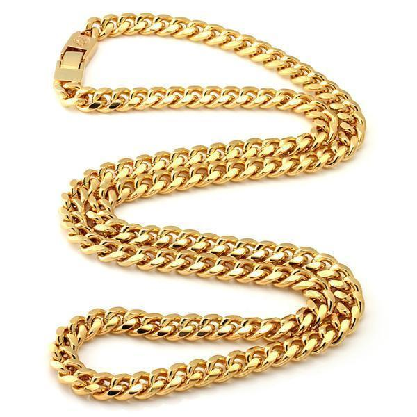 8mm, Stainless Steel 14K Gold Miami Cuban Curb Chain