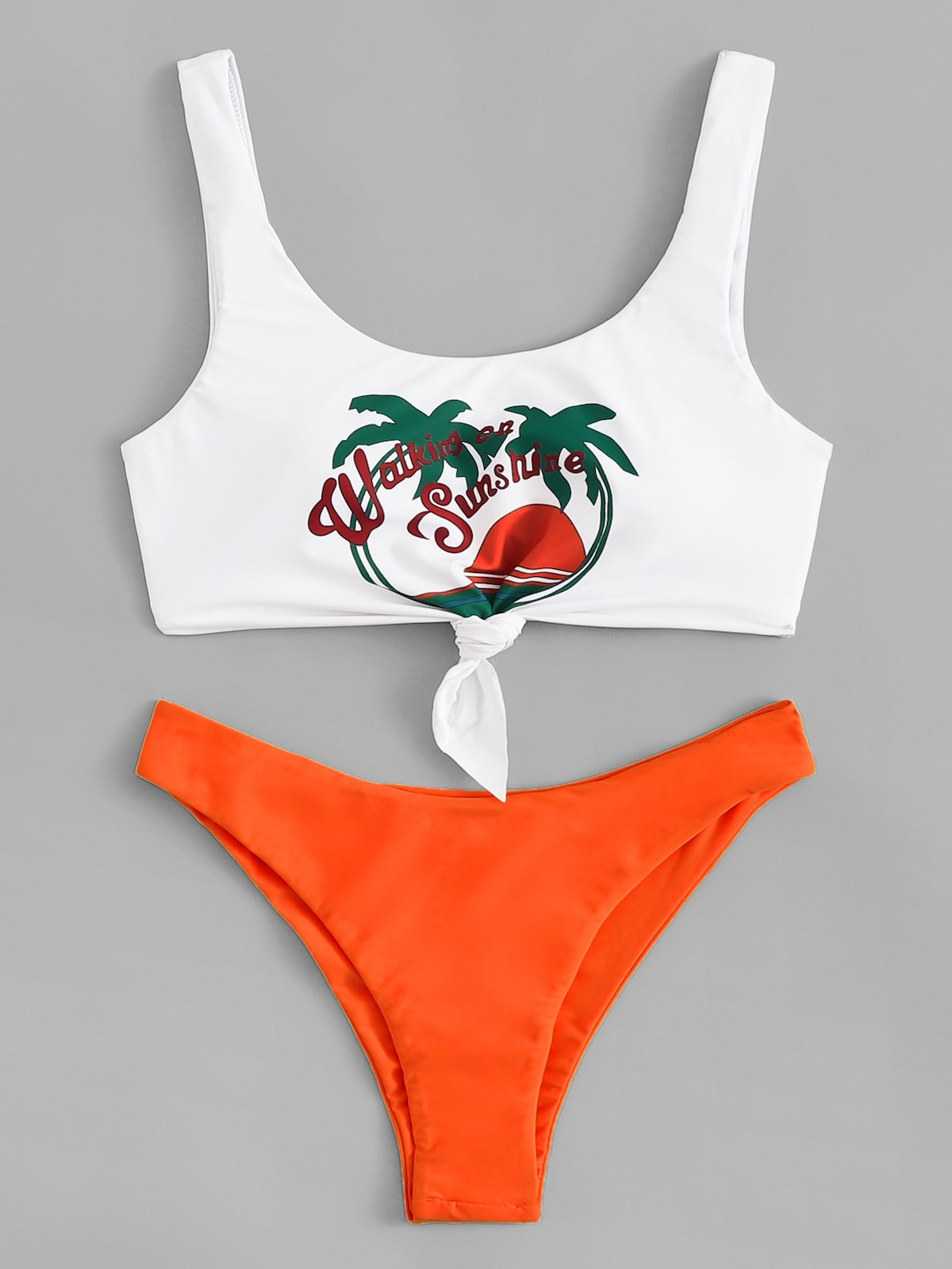 EWMOR - Tropical & Letter Print Mix And Match Bikini