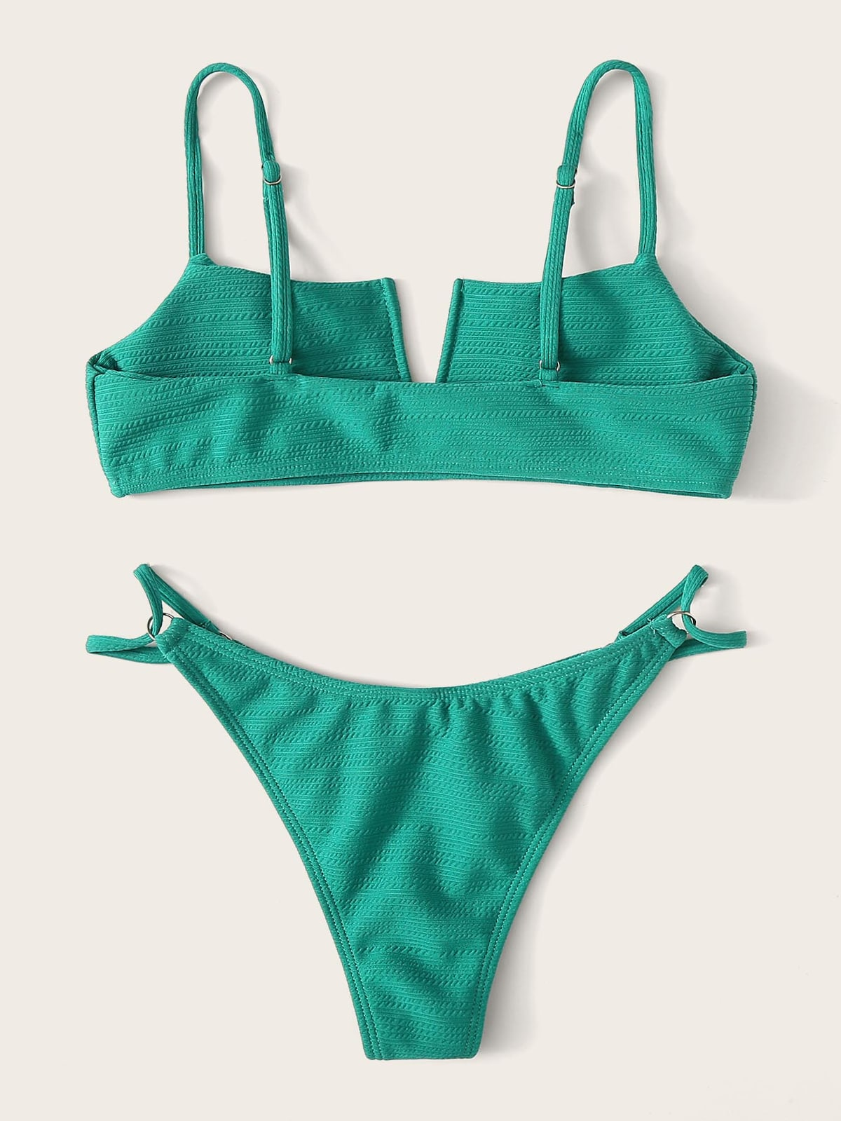 EWMOR - V-Cut Textured Top With Tanga Bikini Set