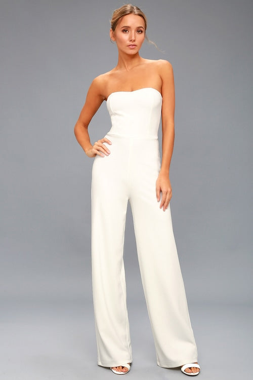 LULUS - Edith White Strapless Jumpsuit