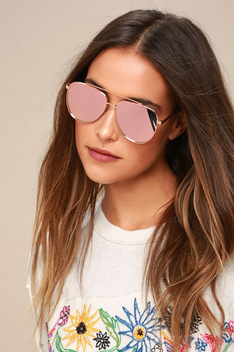 Chiara Rose Gold Mirrored Aviator Sunglasses