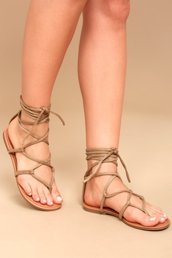 LULUS - Emilia Suede Lace-Up Flat Sandals