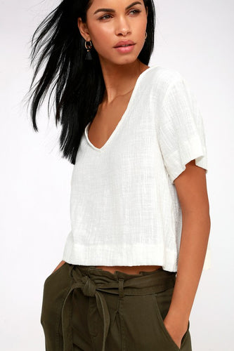 Signorina White Short Sleeve Top
